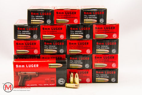 Geco 9mm Luger, 115 gr. FMJ, Case of 1000 rounds