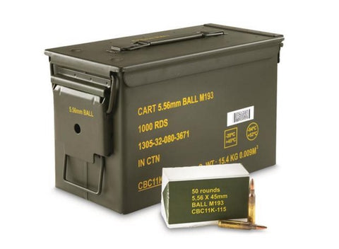 Magtech 5.56mm NATO, 55 Gr. FMJ-BT, 1000 Rounds in an Ammo Can