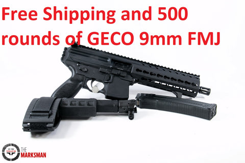 Sig Sauer MPX, 9mm, Folding Stabilizing Brace, Free Shipping and 500 rounds of GECO 9mm FMJ, Online Deal Only
