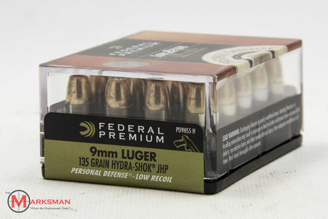 Federal 9mm Luger, 135 Gr. Hydra-Shok JHP