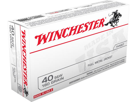 Winchester USA .40 S&W, 180 Gr. FMJ, Q4238, Online Deal