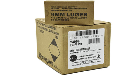 Remington 9mm Luger 115 Gr. FMJ, Military Surplus, Case of 500 Rounds