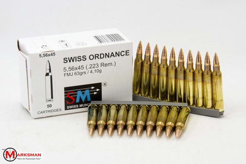 RUAG Swiss Ordnance 5.56mm NATO/.223 Remington, 63 Gr. FMJ