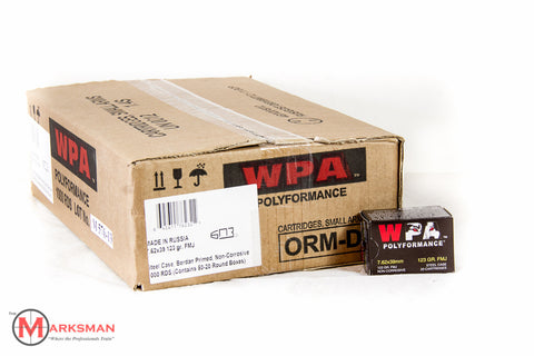 Wolf 7.62 x 39mm, 123 gr. FMJ, Case of 1000 rounds