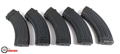 AK-47 Steel 30 Round 7.62 x 39mm Magazines, Pack of 5, Surplus