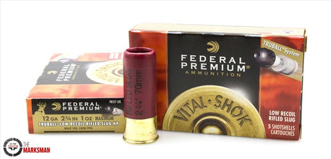 "Federal Truball LR 12 gauge, 2 3/4"", 1 oz slugs"