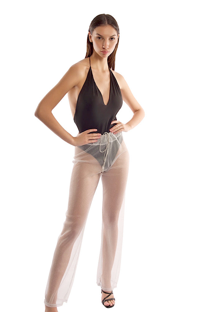 MILA PANT IN SILVER MESH