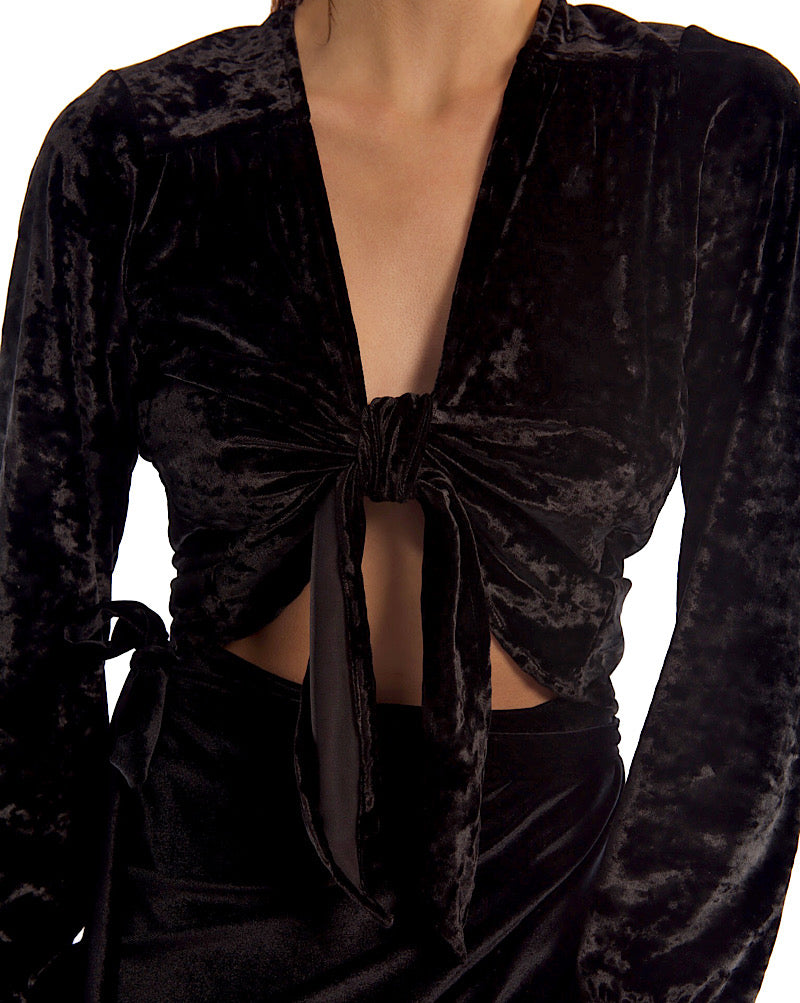 LILI TOP IN BLACK VELVET
