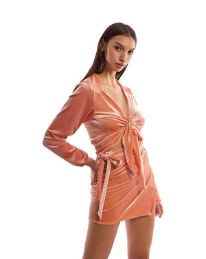 LILI TOP IN PEACH VELVET