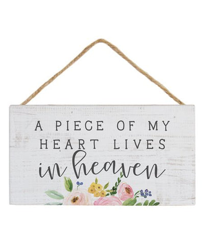 A Piece of My Heart Lives in Heaven Hanging Wood Sign