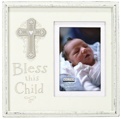 """Bless This Child"" Photo Frame w/ Cross"
