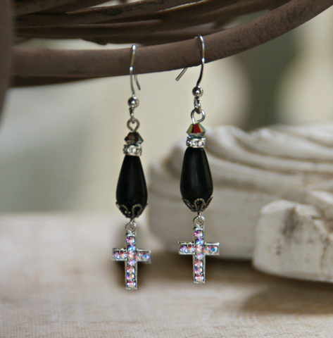 Cross Drop Earrings Black