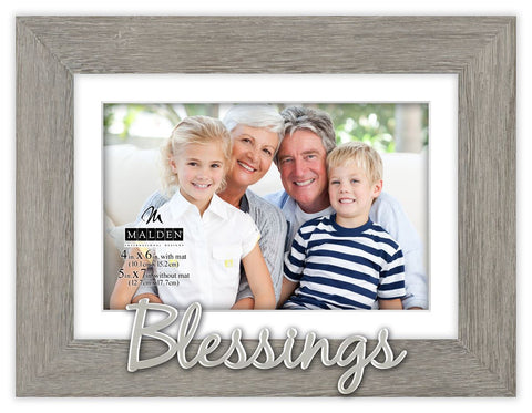 """Blessings"" Gray Distressed Photo Frame"