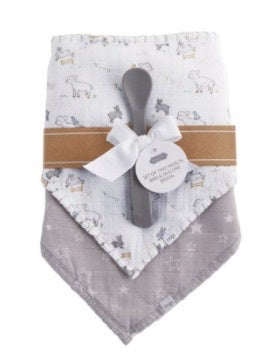 """Counting Sheep"" Baby Bib Set of 2 w/ Spoon"