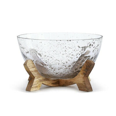 Glass Bowl with Wood Base