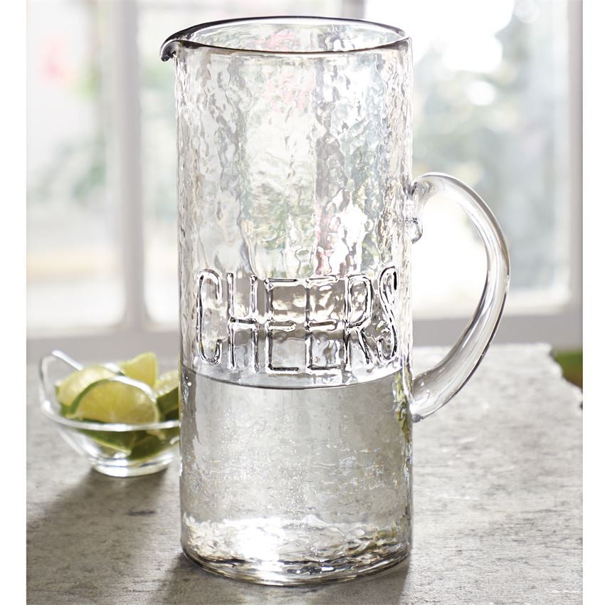 Cheers Embossed Glass Pitcher Mudpie