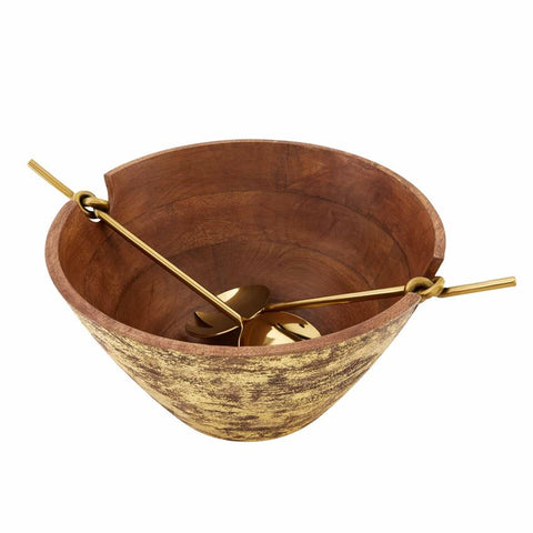 Gold Wood Serving Bowl Set