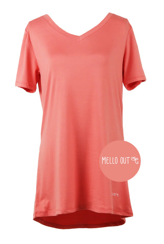 DREAM ON TEE CORAL HELLO MELLO TOP