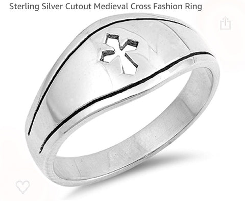Cut out Cross Curved Sterling Silver Ring