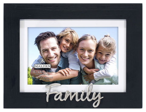 "Black Distressed ""Family"" Photo Frame"