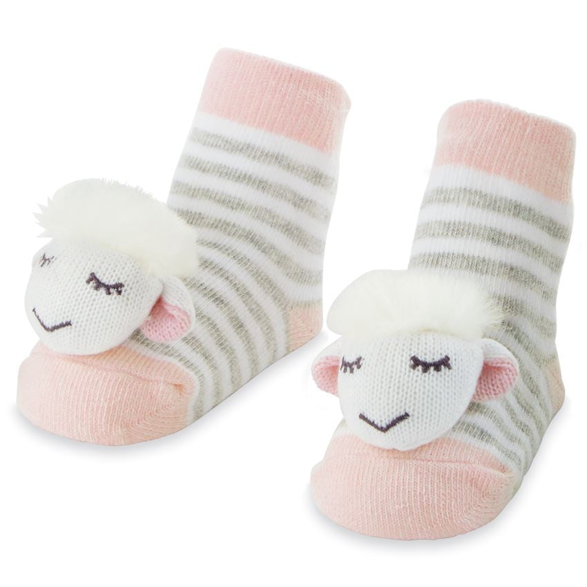 Pink Sheep Rattle Toe Socks