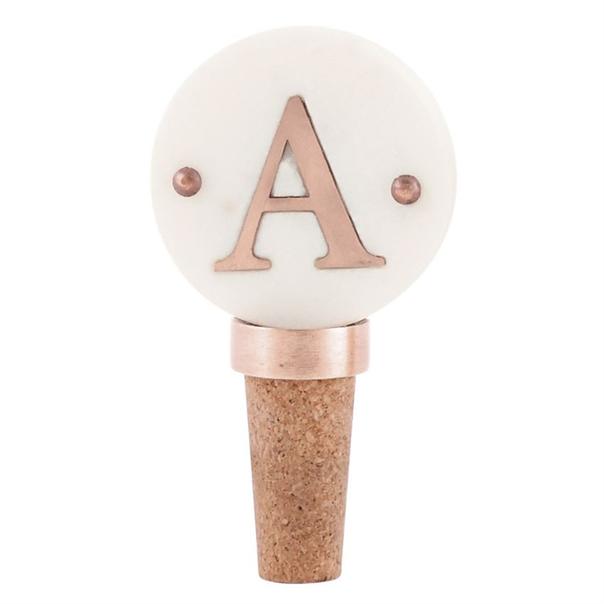 Initial Copper Wine Bottle Stopper Round