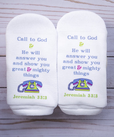 Scripture Socks Call to God & He will answer you.  Jeremiah 33;3