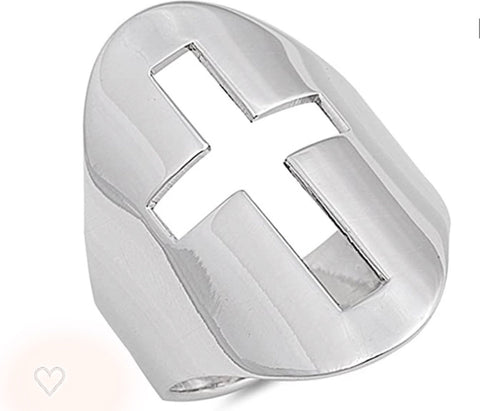Cut out Cross Large Sterling Silver Ring 2 ""