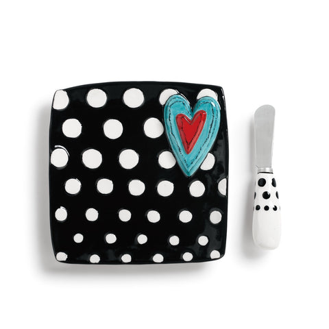 Tracy  Pesche Black Plate White Dots & Heart w/ Spreader