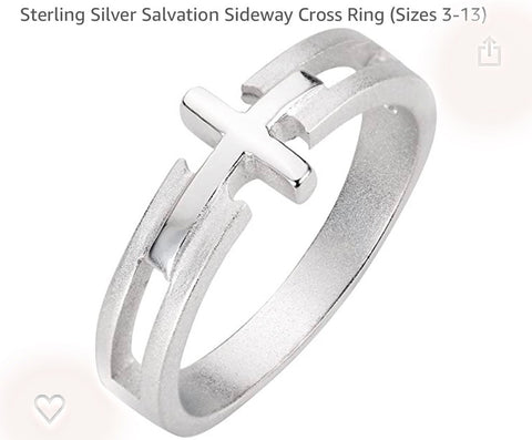Cross Sideways Sterling Silver