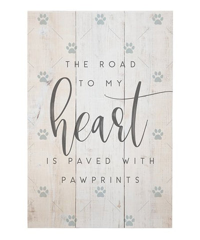 Paved Pawprints Wood Plaque