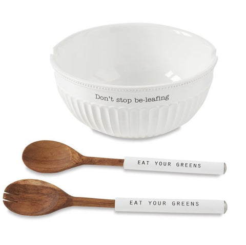 "Circa Fluted Salad Bowl ""Don't Stop Be leaf in"" w/ 2 servers"