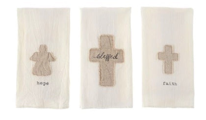 Cotton Towel Blessed, Faith, Hope Astd  3