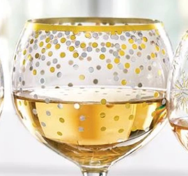 Wine Glass Gold Rim Ast