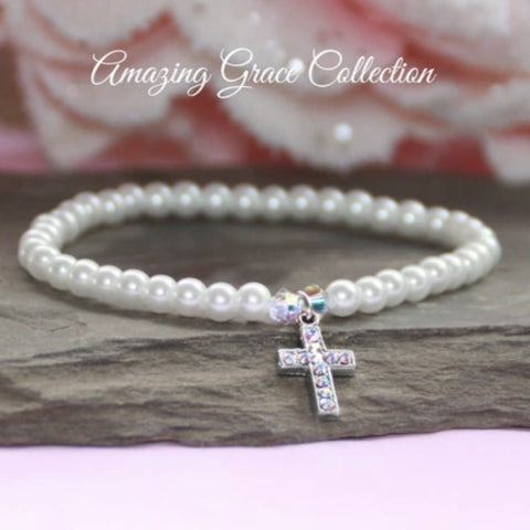 Crystal Filled Cross Stretch Pearl Bracelet