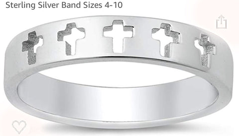 5 Cut out Cross Sterling Silver Ring