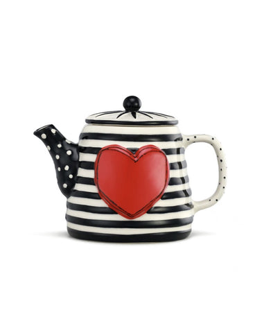 Tracy Pesche Tea Kettle Black & White Stripe
