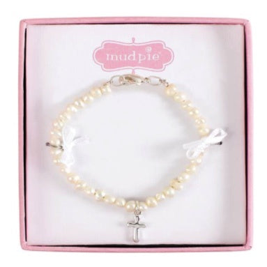 Baby Bracelet cultured pearl with sterling cross