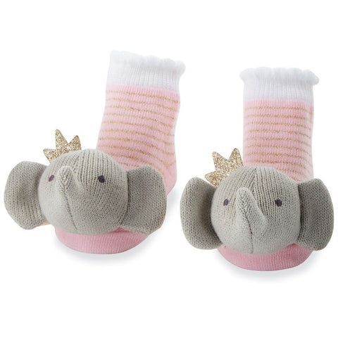 Crowned Elephant Rattle Toe Socks