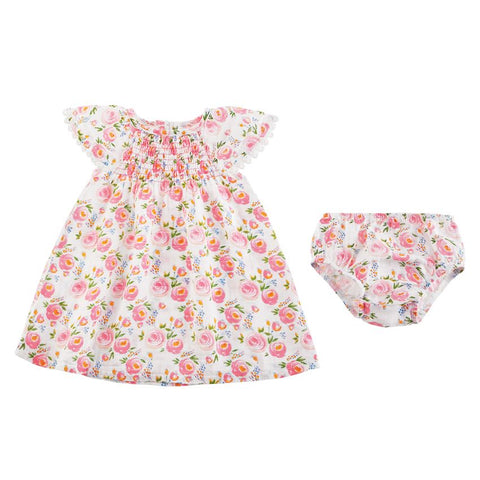 Rosebud Smocked Dress & Bloomer Set