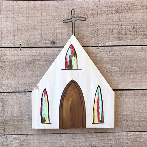 Wood Church Hand painted by local Memphis Artist Lindy Tate
