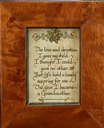 """Grandmother"" Quote ""The Love and Devotion"" Framed Calligraphy Mini"