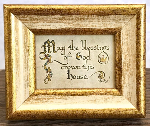"""May the Blessings of God crown this house"" Framed Calligraphy Mini Quote"