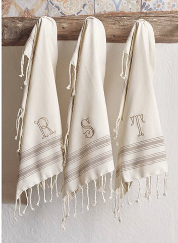 Turkish Hand Towel w/ Initial Monogram
