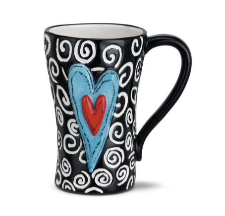 Tracy Pesche Mug Black w/ White Swirls