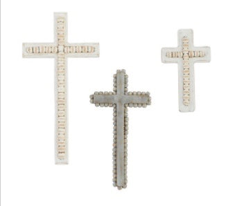 BEADED CROSS MED GREY