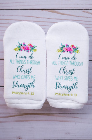 Socks I can do all things through Christ who gives me strength.  Phil 4:13