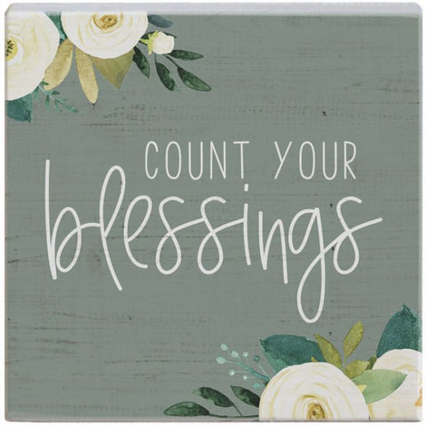 Count Blessings Wood Block