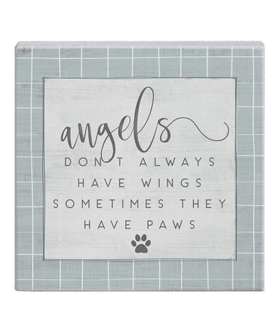 Angels Have Paws Wood Block