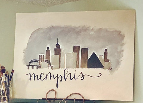 Memphis Skyline Canvas by LIndy Tate